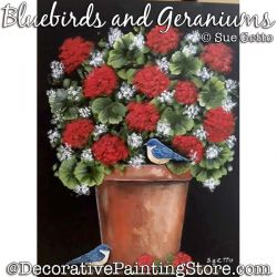Bluebirds and Geraniums Painting Pattern PDF DOWNLOAD - Sue Getto