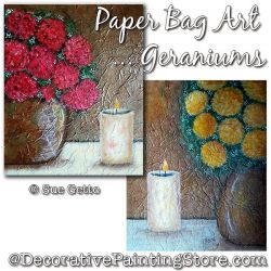 Paper Bag Art ... Geraniums Painting Pattern PDF DOWNLOAD - Sue Getto