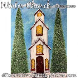 Winter Church Painting Pattern PDF DOWNLOAD - Sue Getto