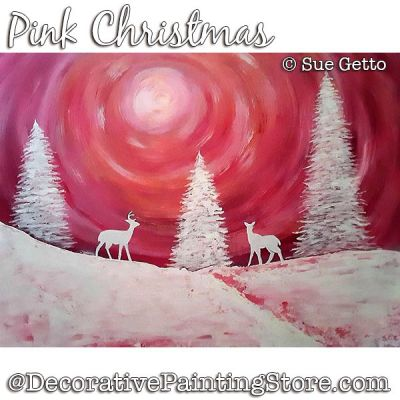 Pink Christmas Painting Pattern PDF DOWNLOAD - Sue Getto