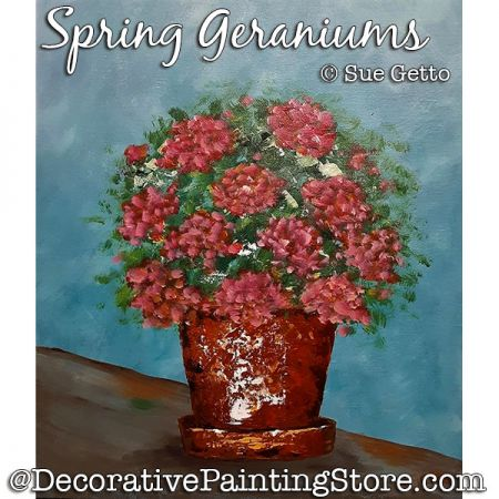 Spring Geraniums Painting Pattern PDF DOWNLOAD - Sue Getto