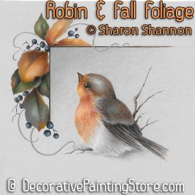 Robin and Fall Foliage ePattern - Sharon Shannon - PDF DOWNLOAD