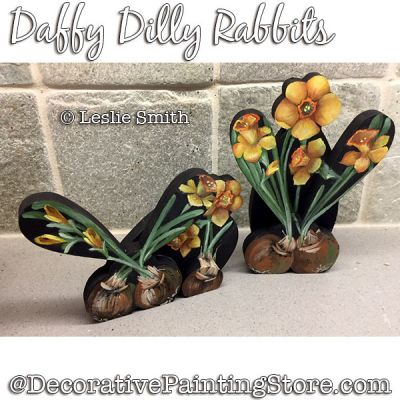 Daffy Dilly Rabbits Painting Pattern PDF DOWNLOAD - Leslie Smith