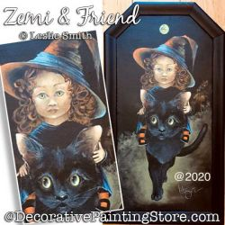 Zemi and Friend (Witch / Black Cat) Painting Pattern PDF DOWNLOAD - Leslie Smith