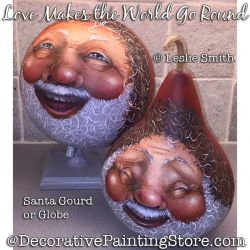 Love Makes the World Go Round (Santa Globe/ Gourd) Painting Pattern PDF DOWNLOAD - Leslie Smith