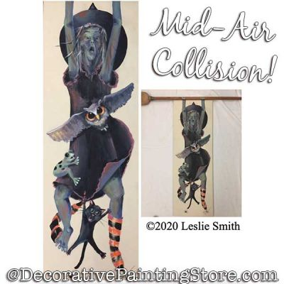 Mid-Air Collision (Witch / Owl / Frog / Black Cat) Painting Pattern PDF DOWNLOAD - Leslie Smith