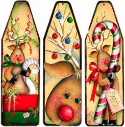 More Reindeer Antics Mini-Ironing Board Ornaments - Sharon Chinn