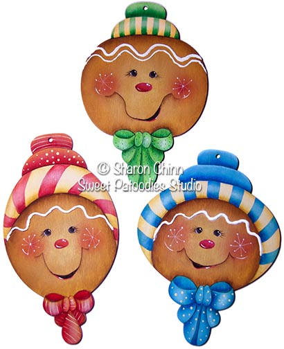 Gingerbread Candy Stripers Ornaments PDF Download - Sharon Chinn