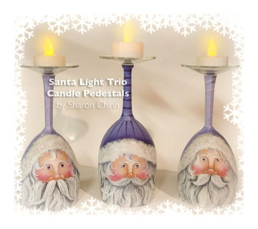 Santa Light Trio Candle Pedestals PDF Download - Sharon Chinn