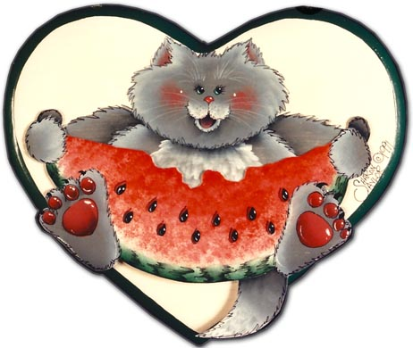 Watermelon Cat on Heart DOWNLOAD