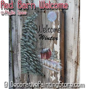 Red Barn Winter Welcome Sign - Phyllis Spaw - PDF DOWNLOAD