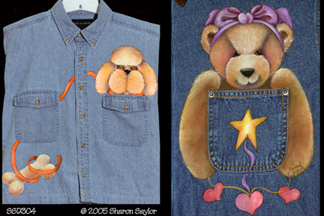 Poodle and Teddy Bear on Shirt Pockets PDF Download - Sharon Chinn