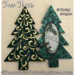Two Trees Ornament Painting Pattern PDF DOWNLOAD - Kathy Swigon