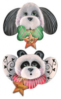 Panda and Puppy Starz Ornaments - Set of 2 Blanks