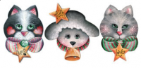 Kitties and Lambie Starz Ornaments - Set of 3 Blanks