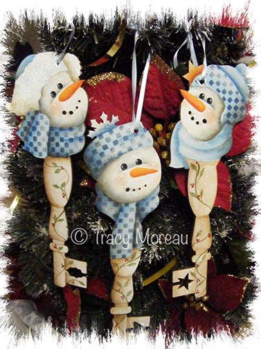 Sweet Snowy Trio Key Ornaments ePattern - Tracy Moreau - PDF DOWNLOAD