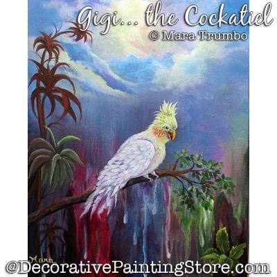 Gigi the Cockatiel Window Painting Pattern PDF DOWNLOAD - Mara Trumbo