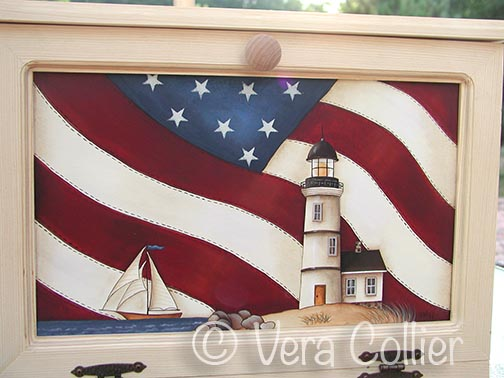 Americana Lighthouse Bread Box Insert e-Pattern - Vera Collier - PDF DOWNLOAD