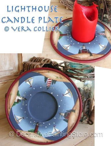 Lighthouse Candle Plate Pattern - Vera Collier - PDF DOWNLOAD