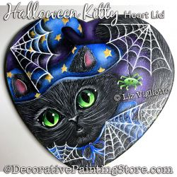 Halloween Kitty Heart Lid Painting Pattern PDF DOWNLOAD - Liz Vigliotto