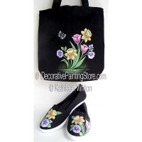 Spring Flowers on Tote and Canvas Shoes ePattern - Kathleen Whiton - PDF DOWNLOAD