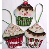 Snowmen Cupcake Ornament Pattern - Kathleen Whiton - PDF DOWNLOAD