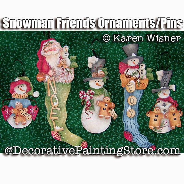 Snow Friends Ornaments or Pins - Karen Wisner - PDF DOWNLOAD