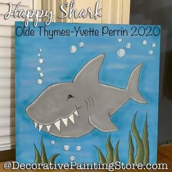 Happy Shark Painting Pattern PDF DOWNLOAD - Yvette Perrin