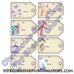 Watercolor Christmas eTags - Set of 8