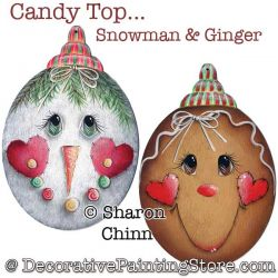 Candy Top Snowman and Ginger Ornaments Pattern - Sharon Chinn